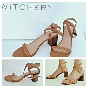 NEW WITCHERY SANDALS [41 EU 10 AU] Strappy Leather Heels TAN  RRP$159.95