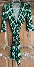 Diane von Furstenberg Julian Green, Navy + Cream Geometric Print, Wrap Dress