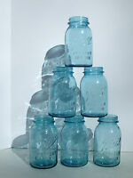 Ball Perfect Mason Jars Blue Quart Canning Vtg Wedding Parties Candles 6 pcs