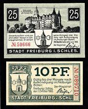 Freiburg in Schlesien -Stadt- 2 Verkehrsscheine zu 10 Pf. und 25 Pf.