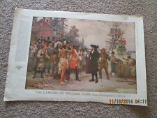 "Print of painting by J. L. G. Ferris. Nov. 1917. ""The Landing Of William Penn""."