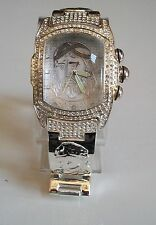 Men's designer look Jesus dial Geneva bracelet silver finish  fashion watch