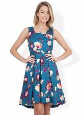 Almari Floral High Low Tie Back Dress Blue Size UK 14 rrp £65 DH078 AA 15