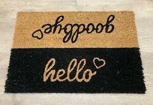 Welcome Door Mat - Hello/Goodbye - Non Slip - 100% Coir - Brown/Black Hearts