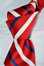 "$155 NWOT ROBERT TALBOTT Red w/ White & Blue bar stripes 3.4"" woven silk tie"