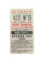 BLUE JAYS STAR GEORGE BELL MLB DEBUT-1981 TIGERS OPENING DAY TICKET STUB-4/9/81
