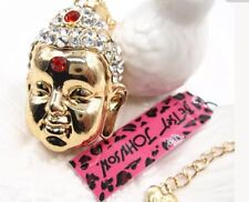 Betsey Johnson Necklace Buddha  CRYSTALS AND GOLD LOVE  WORLD PEACE