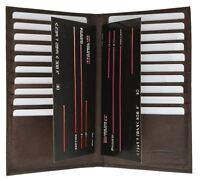 Genuine Leather Slim Multi Credit Card Holder Secretary Bifold Wallet Brown New