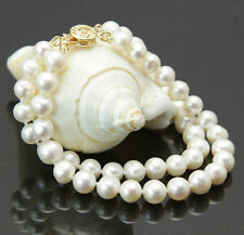 2Rows 7-8mm Natural White Akoya Cultured Pearl Hand Knotted Bracelet 7.5""