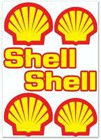 Set 6 PVC Vinyle Autocollants Shell Gasoline Gaz Oil Logo Sticker Voiture Auto