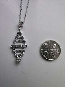 """Natural Diamond 925 Sterling Silver """"Articulated"""" Pendant & Chain. 1.05 Carets."""