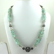 NATURAL AQUAMARINE CHIPS GEMSTONE BEADED BEAUTIFUL CHARMING NECKLACE 73 GRAMS