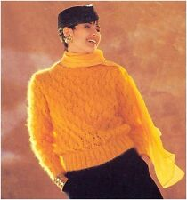 Ladies' Mohair Diamond Lace Sweater Vintage Knitting Pattern Instructions