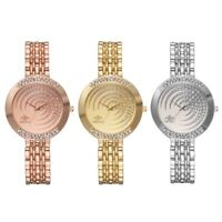 Fashion Crystal Dial Bracelet Watch Stainless Steel Quartz Women Wristwatch