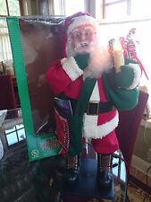 """HOLIDAY CREATIONS 26"""" ANIMATED SPECIAL DELIVERY SANTA MAILMAN w/BOX EUC"""