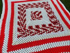 """Handcrafted Crocheted Afghan Red and White Granny Square Blanket Throw 62""""x62"""""""