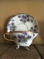 Beautiful Gold Trimmed Vintage  Tea Cup & Saucer Purple Flowers Unmarked