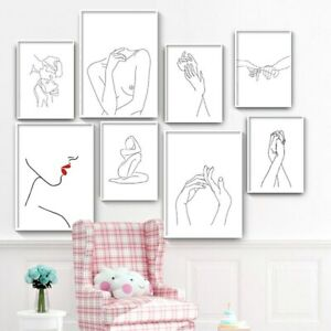 Abstract Lady Line Drawing Pictures Nordic Canvas Painting Wall Art Figure Body