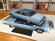 Papercraft Chevrolet Caprice 4 door sedan Paper Model Car EZU-make 1975