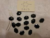 lot 15 ancienne perle verre noir NAVETTE passementerie jais signé A S & J