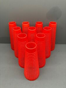 10 Red Plastic Yarn Cones For Wool Winding and Craft Use