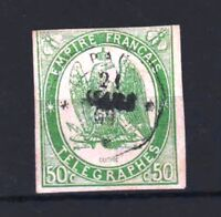 "FRANCE YVERT TELEGRAPHE 2 "" TELEGRAPH 50c GREEN 1868 "" USED F MUST SEE  R381"