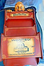 """Vtg """"Wanted for Theft"""" Police Bulletin Wooden Magazine Mail Wall Rack 3D"""