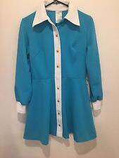 VINTAGE 60's RETRO MOD BLUE Polyester Mini GOGO DRESS Big White Collar SZ 10