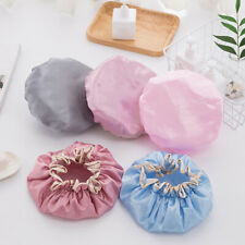 Women Double Waterproof Shower Bathing Cap Hats Silk Reusable Hair Cover UK