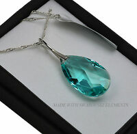925 Silver Necklace made with Swarovski Crystals Pear 28-38mm - Antique Green
