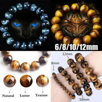 Unisex Natural 6-12mm Gorgeous Tiger eye Healing Crystal Stretch Beaded Bracelet