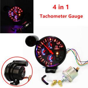 "5"" Tachometer RPM Meter w/ Shift Light Oil Pressure Water Oil Temp Gauge +Sensor"