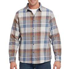 Eddie Bauer NWT Men's 100% Cotton Flannel Shirt -  Griffen Gray w/ Multi Plaid