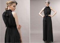 Ladies Women Celeb Maxi Chiffon Evening Gown Prom Long Dress Coral Black 8-14