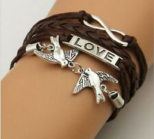 NEW Hot Infinity Love Anchor Leather Cute Charm Bracelet plated Silver DIY SL103