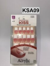 KISS NEW YORK SALON ACRYLIC FRENCH LONG LENGTH KSA09 28 NAILS NEVER CHIP