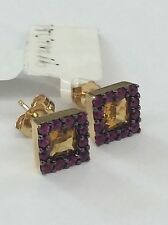 14kt Yellow Gold Princess Cut Citrine And  Ruby Earrings