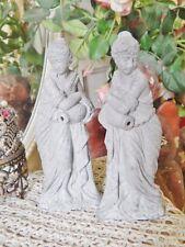 "Pair Shabby Vtg Cast Metal Goddess Woman Statue Figurine Fountain Salvage 7"""