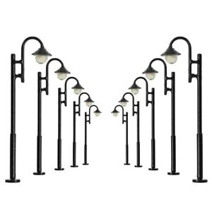 10pcs Model Railway HO Scale 1:87 Street Lights Lamps 5cm LED Warm White LYM29