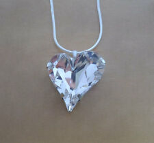 Glitzy Rocks, Love Heart Made with Clear Swarovski Crystal Element Pendant
