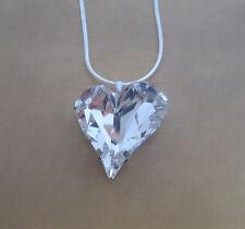 Glitzy Rocks, Love Heart Made with Clear Swarovski Crystal Element Pendant