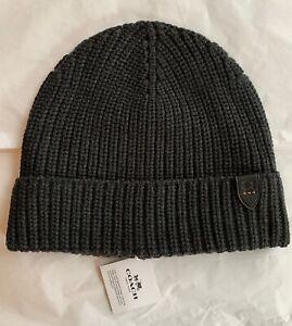 NWT Coach Embossed Rib Knit Merino Wool Hat Beanie Charcoal Gray $78 #86553