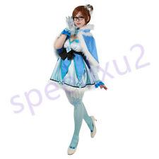 Overwatch Magical Girl Mei Cosplay Costume Blue Dress