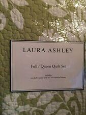 Laura Ashley Quilt Shams Set Rowland Sage 3 piece Full  Queen Green White NIP