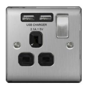 BG Nexus Brushed Steel Single 1 Gang Socket + 2 USB Outlet Black Insert 13A