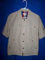 Womens COLDWATER CREEK Tan Short Sleeve Snap Front Jacket Size 10