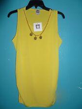 Anne Klein  Sunflower Yellow Stretch Jersey Chain Necklace Sleeveless Top M NEW
