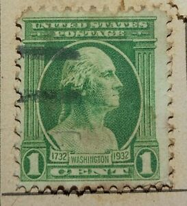 Vintage George Washington 1 cent Green Stamp (Rare Looking Right), 1¢ US Postage