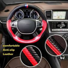 38cm/15'' Black&Red Car Steering Wheel Cover Microfiber Leather Non-Slip Grip US