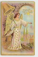 ANTIQUE POSTCARD EASTER ANGEL BELL EASTER LILIES GOLD EMBOSSED EASTER GREETINGS